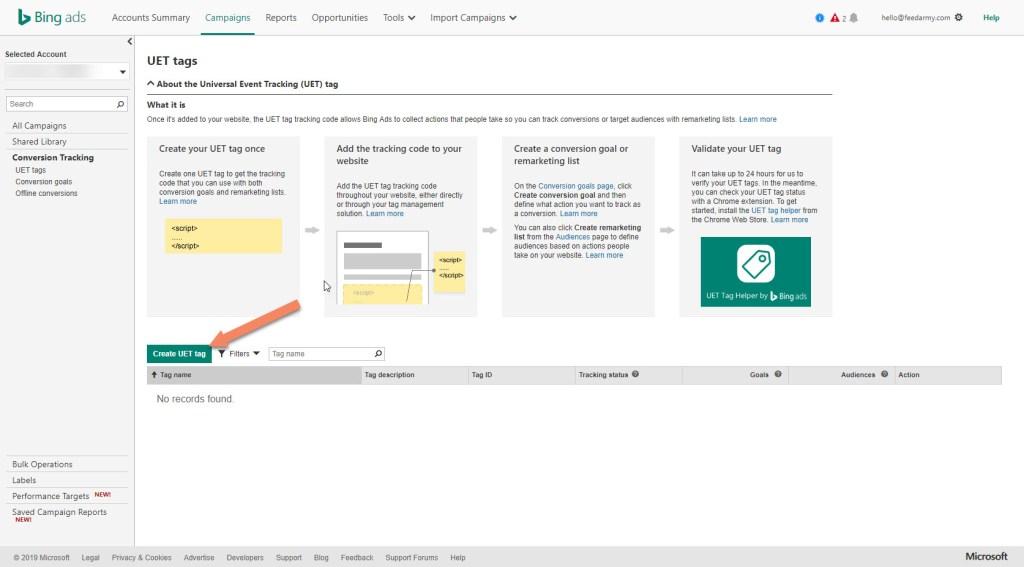 Bing Create UET Tag