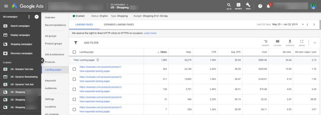 Google Shopping Product Landing Page Metrics