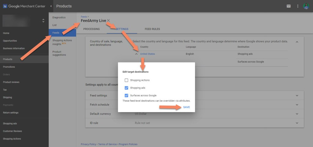 Edit Google Merchant Center Feed Settings