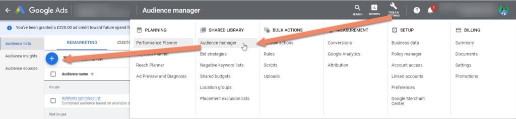Google Ads Create Audience List