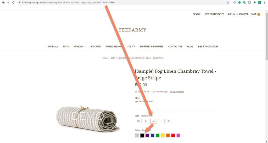 BigCommerce Variant Links