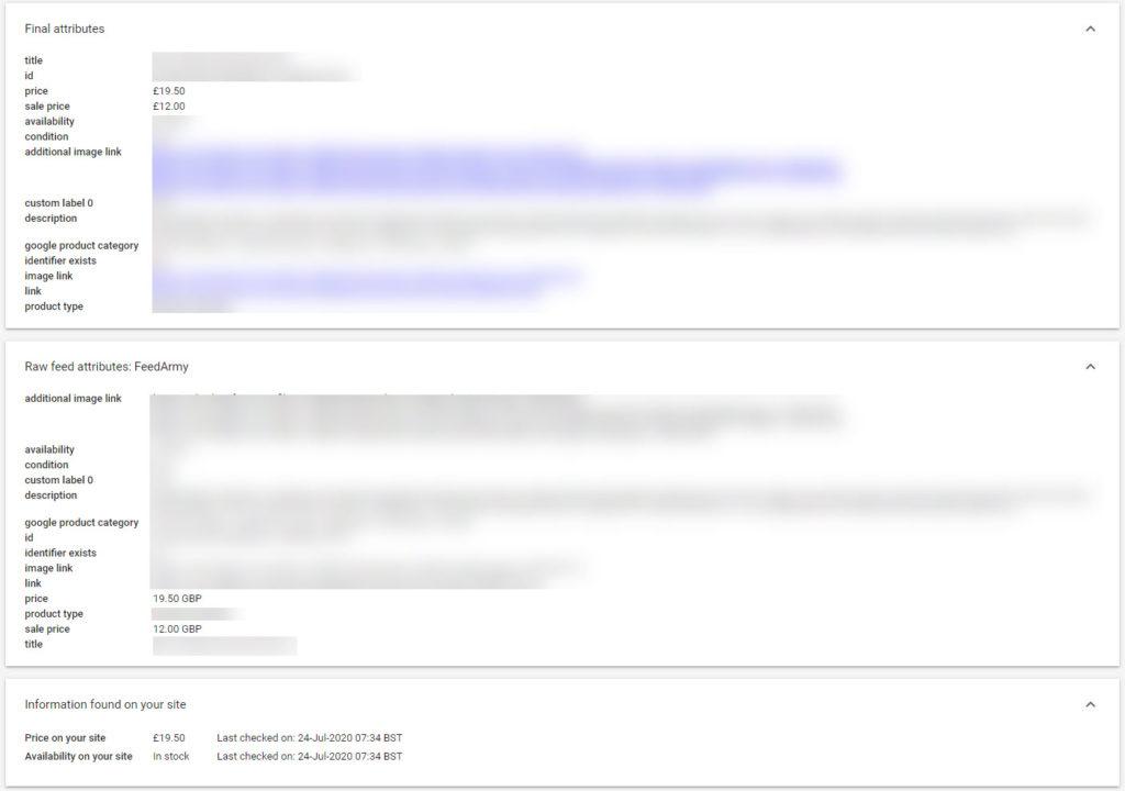 Google Merchant Center Missmatch Price Example
