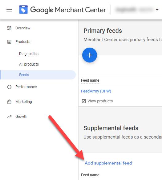 Google Merchant Center Add Supplement Feed