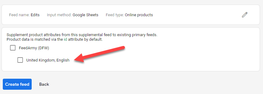 Google Merchant Center select primary feed