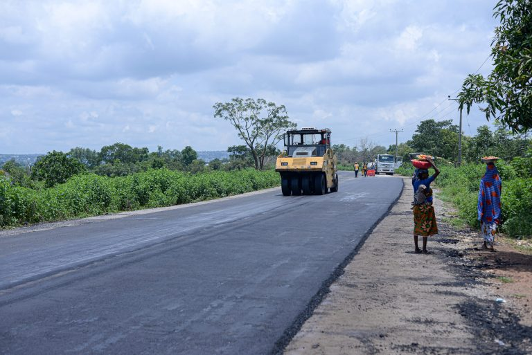 Picture of ongoing rehabilitation of Saki-Ogbooro-Igboho Road taken on August 20, 2021
