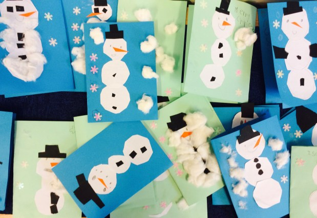Christmas Snowman card by Year 1 Primary School Art