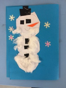 Snowman Christmas card by Year 1 Primary School Art