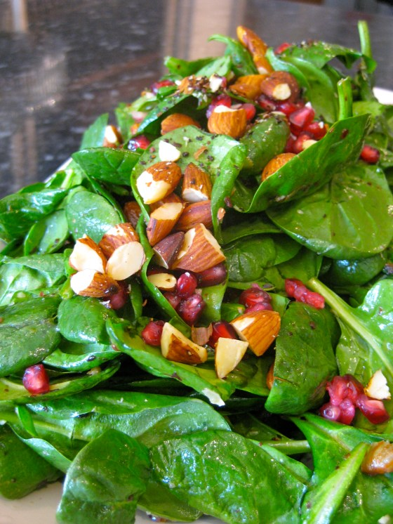 spinach. almond and date salad