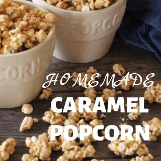 Crunchy and delicious Homemade Caramel Popcorn.
