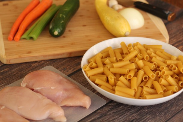 These are the simple ingredients to make this chicken pasta parmesan. Chicken, vegetables and pasta.