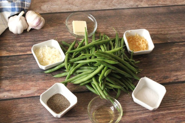 Ingredients for garlic parmesan green beans. Green beans, parmesan, butter, olive oil, garlic and salt and pepper