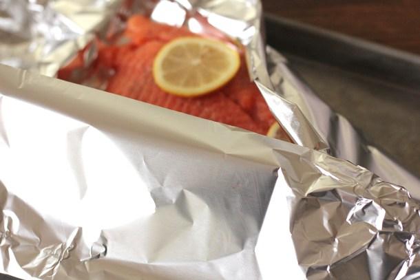 salmon in a foil tent