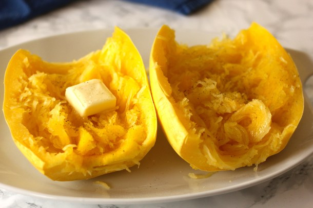 microwave cooked spaghetti squash on a dish
