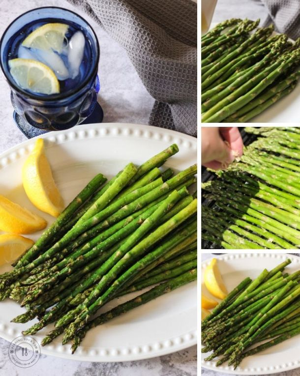 asparagus on a plate with a collage of steps on how to make asparagus
