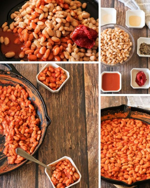 collage of buffalo baked beans