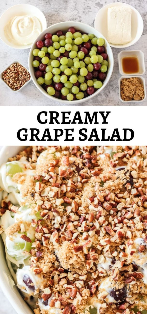 creamy grape salad ingredients and completed salad underneath with the words Creamy Grape Salad in the center