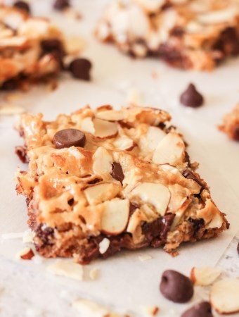 chocolate almond coconut cookie bars