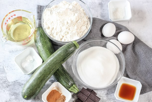 ingredients for chocolate zucchini bread