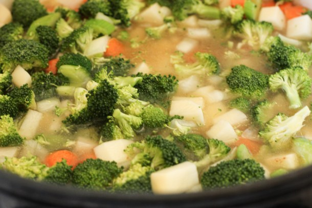 broccoli and potatoes in chicken broth
