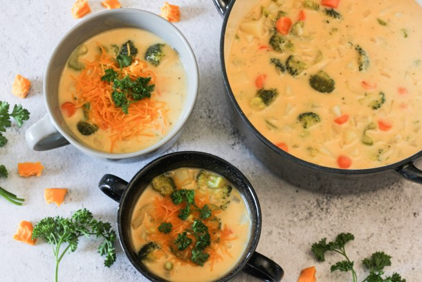 broccoli potato cheese soup in bowls