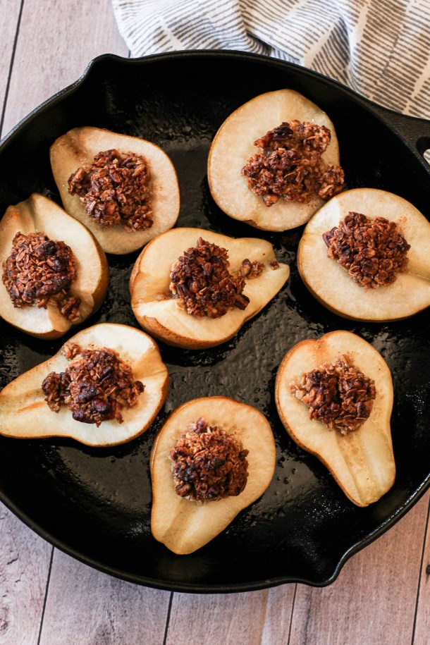 baked pears in a cast iron pan