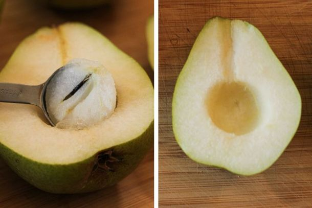 scooping out the core of a pear