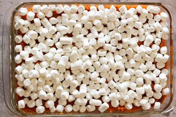 marshmallows on top of sweet potato casserole