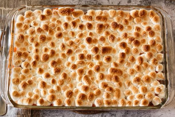 toasted marshmallows on sweet potato casserole