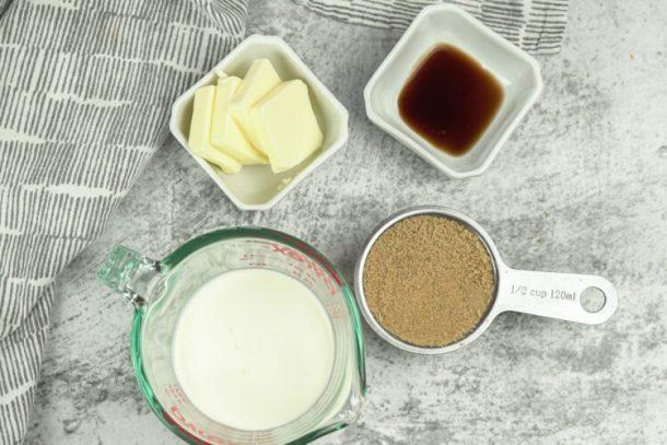 ingredients for homemade caramel sauce