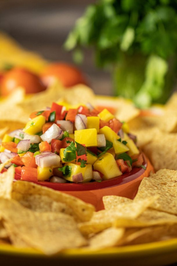 mango salsa surrounded by corn chips