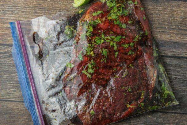 flank steak marinade in a zip top bag