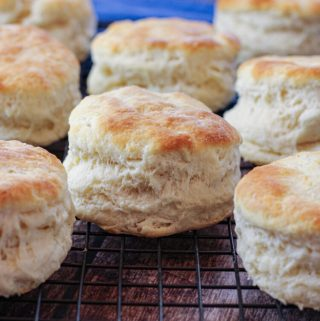 fluffy biscuits on a cooling rack