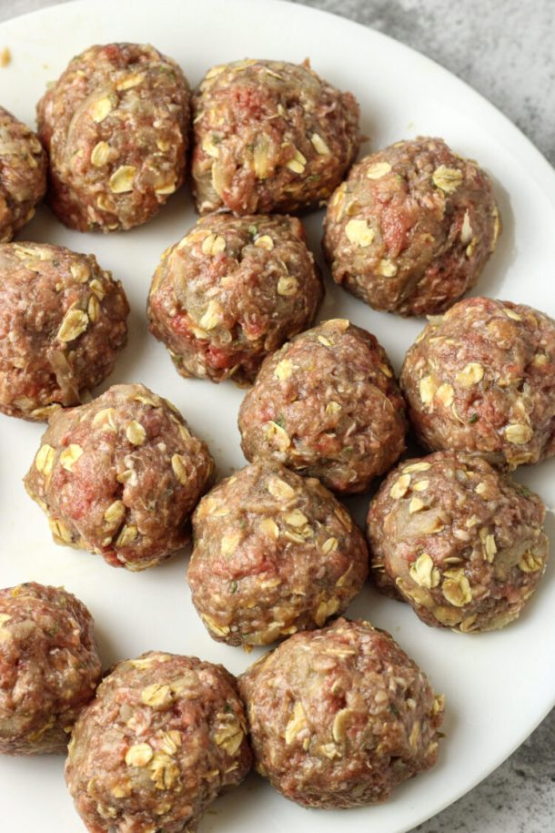 rolled uncooked meatballs