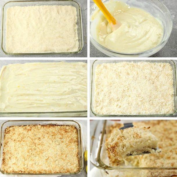 collage of steps to make lemon coconut bars
