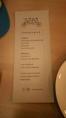 Specialty cocktail menu. Yum!