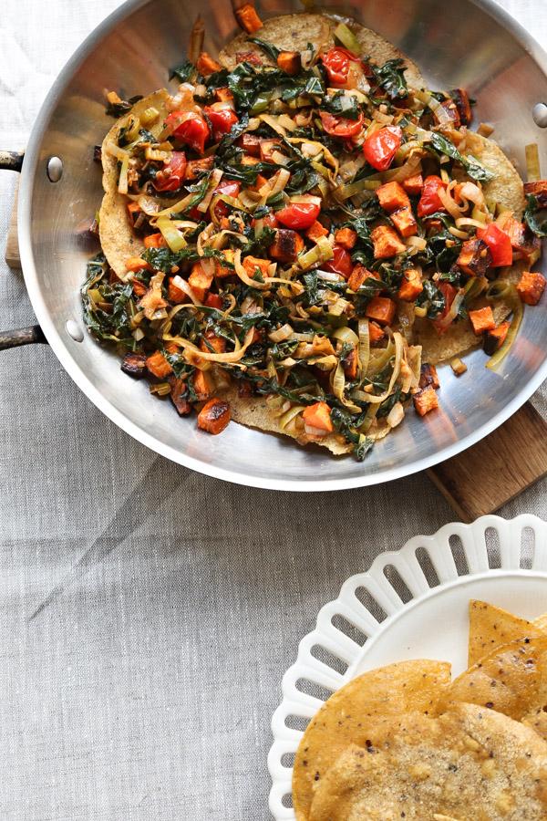 Easy Veggie Taco Pie Recipe with Tortillas, Sweet Potato, Kale and Beans | www.feedmephoebe.com
