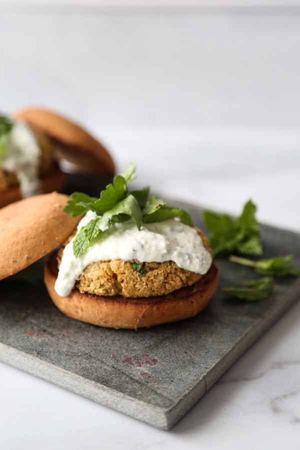 quinoa burger with gluten-free bun