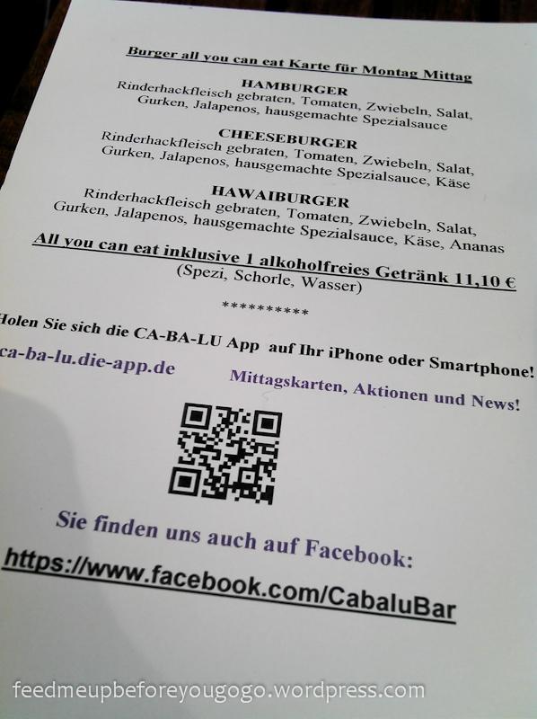 Burger essen in München Karte Ca-Ba-Lu Restaurant