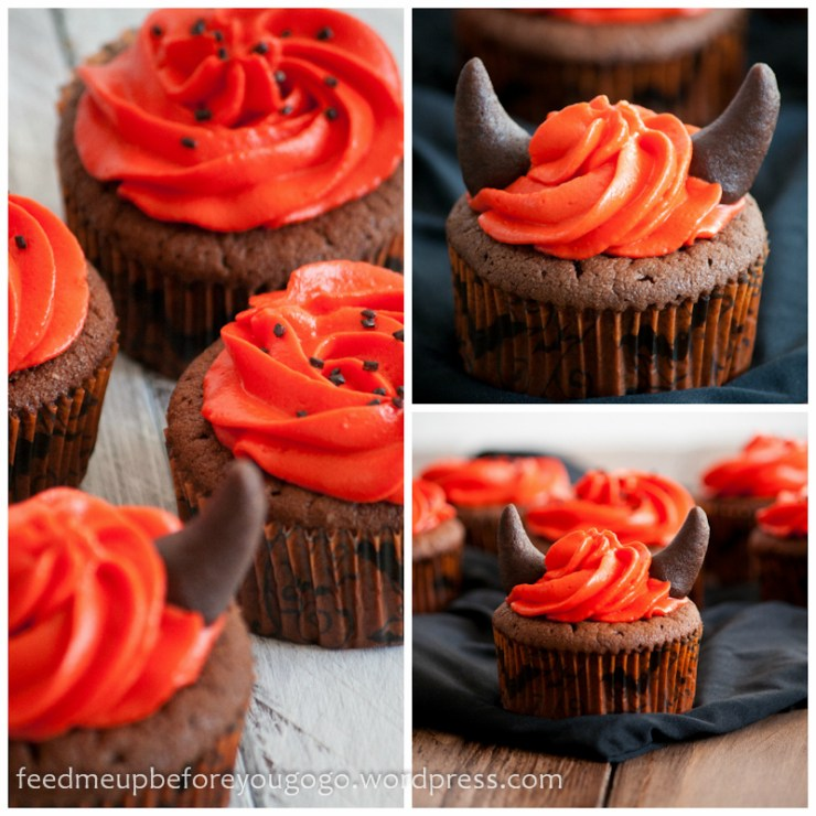 Halloween Devil's Food Cupcakes mit Schokolade Rezept Feed me up before you go-go