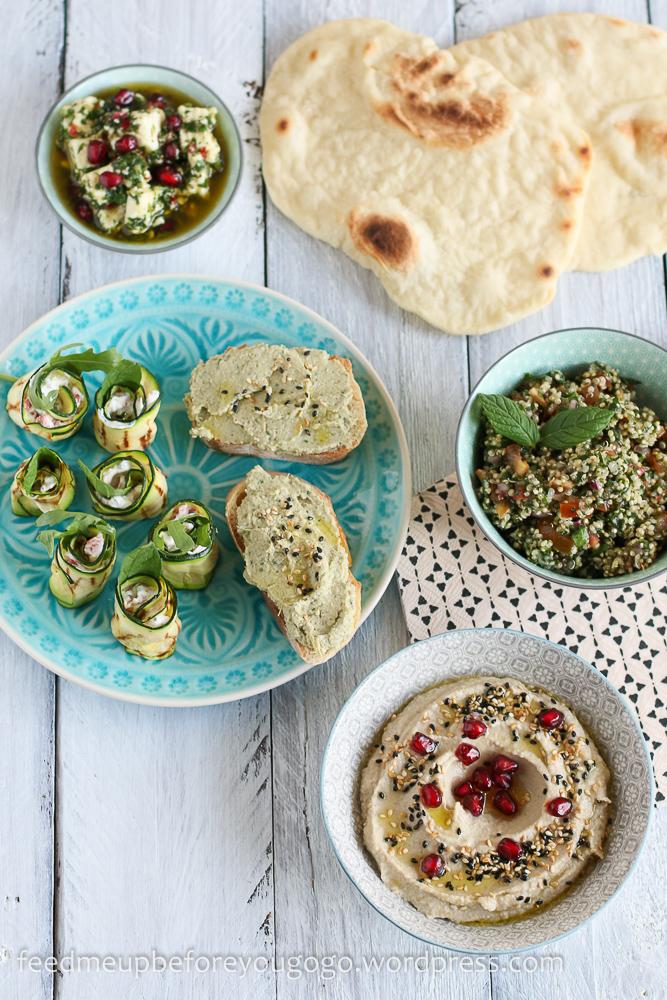Vegetarische Mezze_Baba Ganoush_Artischockencreme_Zucchiniröllchen-1