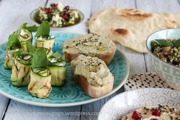 Vegetarische Mezze_Baba Ganoush_Artischockencreme_Zucchiniröllchen-4