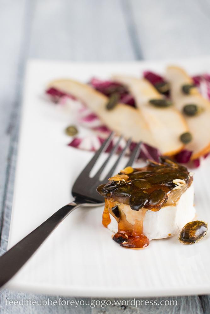 Ziegenkäserollen mit Kürbiskaramell und Radicchio-Birnen-Salat Rezept2-1