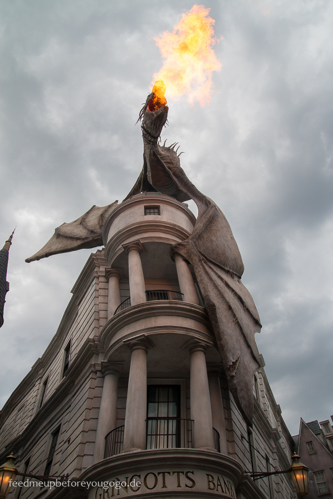 Drache auf Gringotts Harry Potter Diagon Alley Universal Studios Orlando