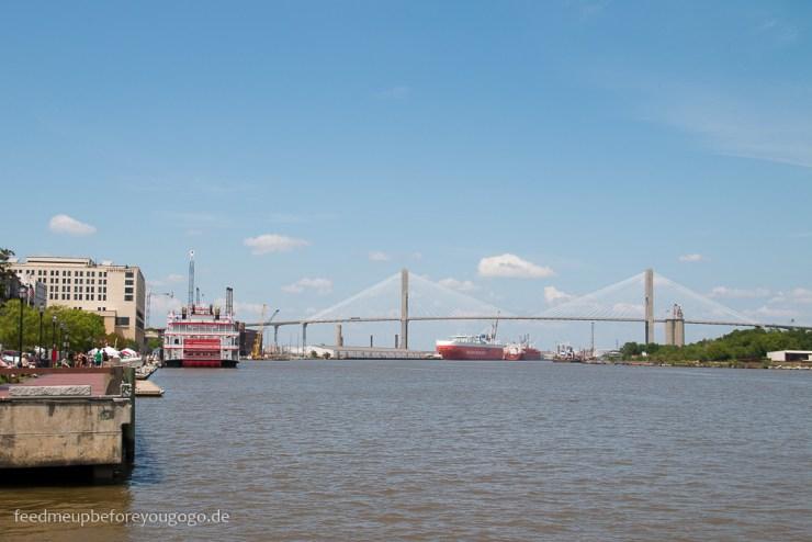 Savannah Georgia River Street Hafen Südstaaten