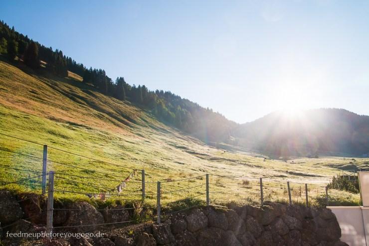 Berghang mit Sonne Balderschwang Allgäu