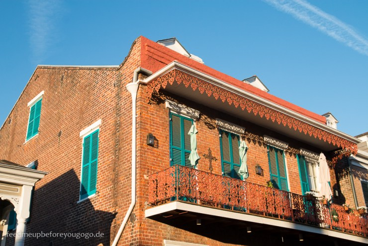 3 Tage in New Orleans Balkon im French Quarter Backstein