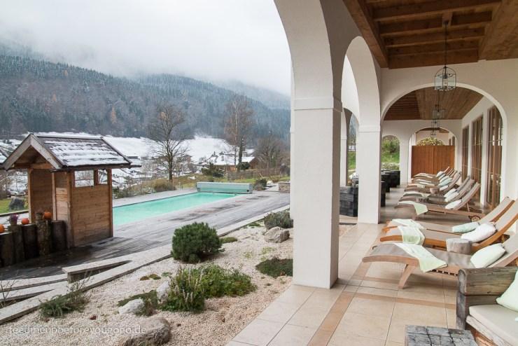 Berghotel Rehlegg Ramsau Außenpool im Winter Wellness im Berchtesgadener Land