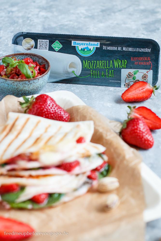 Erdbeer-Spinat-Quesadilla mit Mozzarella und Erdbeer-Pistazien-Salsa Rezept