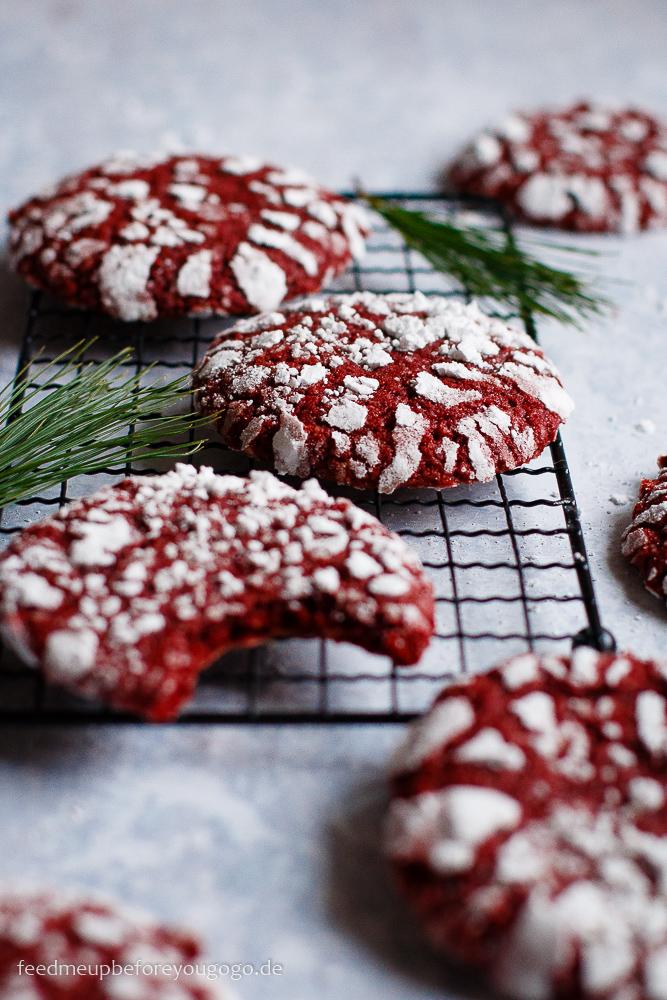 Red Velvet Cookies - rot-weiße Weihnachtsplätzchen Rezept