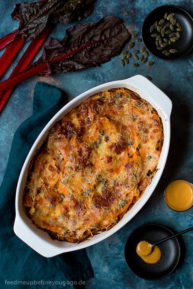 Kürbis-Mangold-Lasagne mit Kürbis-Sherry-Béchamel
